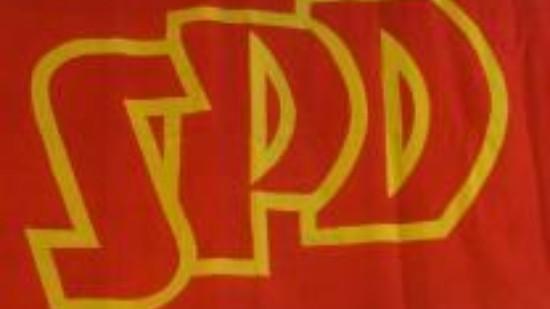 SPD-Logo auf traditioneller Flagge